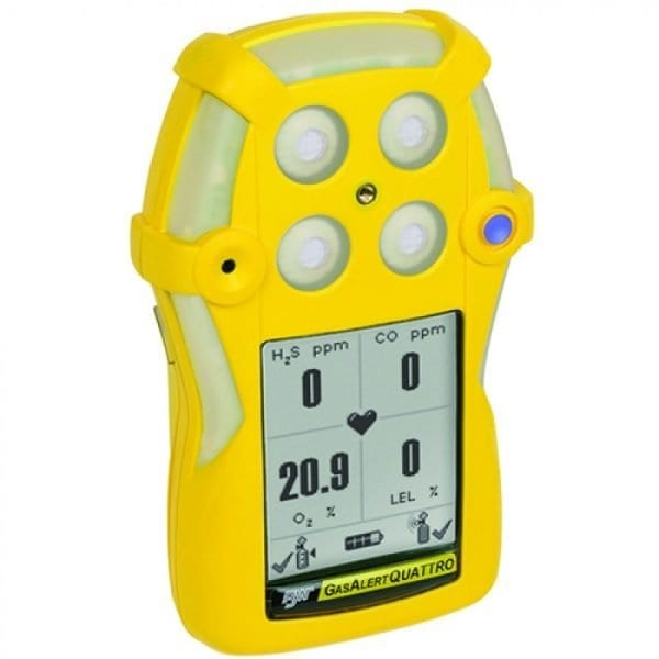 BW Technologies GasAlertQuattro [QT-000M-R-Y-NA] Single Gas Detector, Rechargeable Battery, Carbon Monoxide (CO)