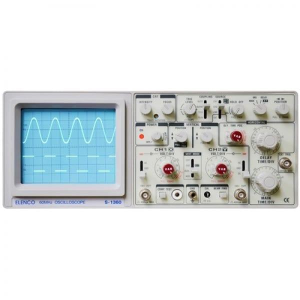 Elenco S-1360 60MHz, 2-Channel, Analog Oscilloscope